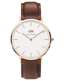 Daniel Wellington St Mawes Leather Strap Watch Brown/Rose Gold