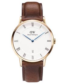 Daniel Wellington Dapper St Mawes Leather Strap Watch Brown/Rose Gold