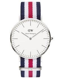 Daniel Wellington Canterbury Nato Strap Watch Silver