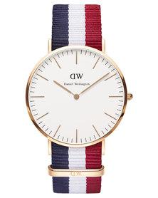 Daniel Wellington Cambridge Nato Strap Watch Rose Gold