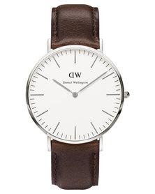 Daniel Wellington Bristol Leather Strap Watch Brown/Silver