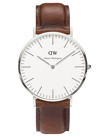 Daniel Wellington St Mawes Leather Strap Watch Brown/Silver