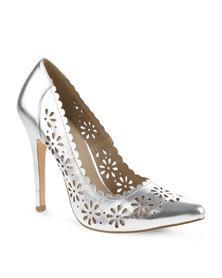 Daniella Michelle Flower High Heel Silver