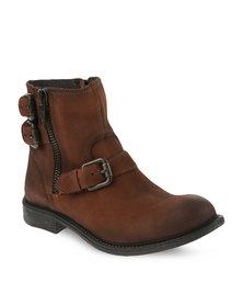 Daniella Michelle Aldy Leather Boots Tan