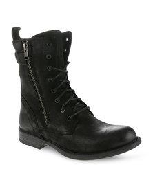 Daniella Michelle Luisa Leather Ankle Boots Black