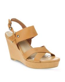 Daniella Michelle Shadow Wedge Heels Tan