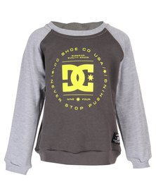 DC Boys Rebuilt Crew Pullover Sweater Black & Grey
