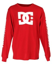 DC Boys Star Standard Long Sleeve T-Shirt Red