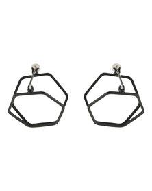 De Stijl Hexagon Geo Ear Stud Earring Black