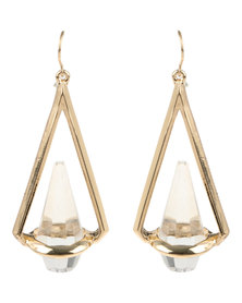 De Stijl 18K Gold Plated Glass Crystal Designer Drop Earrings Gold-tone
