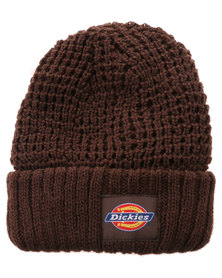 Dickies Turn Up Chunky Knit Beanie Chocolate