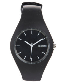 Digitime Slim Plastic Watch Black