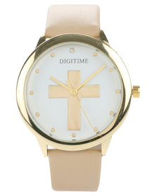 Digitime Cross Round Dial Leather Strap Watch Beige