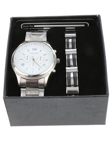 Digitime White Dial Watch and Bracelet Set Silver-tone