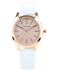 Digitime Rose Gold Dial Strap Watch White