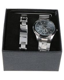 Digitime Black Dial Watch and Bracelet Set Charcoal