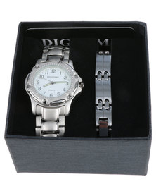 Digitime Bracelet Strap Watch and Bracelet Set Silver-tone