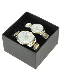 Digitime His & Hers Two Tone Watch Set Multi