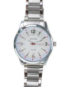 Digitime Brazen Watch with  Hilights Silver-tone