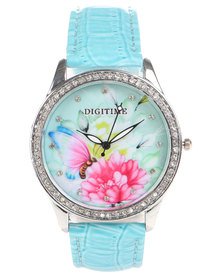 Digitime Floral Croc Strap Watch Blue