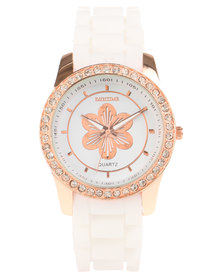 Digitime Diamante Floral Watch White