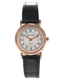 Digitime Classic Leatherette Strap Watch Black