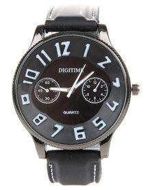 Digitime Numeric Resin Strap Watch Black