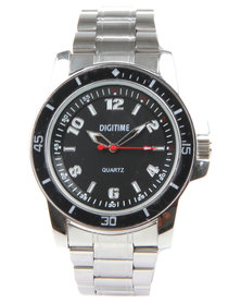 Digitime Noble Black Dial Watch Silver-Tone
