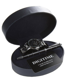 Digitime Watch and Pen Set Silver-Tone