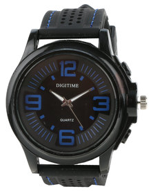 Digitime Heat Perforated Silicone Strap Watch Black/Blue