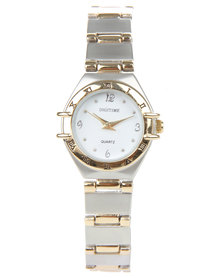 Digitime Two Tone Bevel Detail Watch Silver-Tone