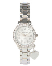 Digitime Heart Diamante Watch Silver-Tone