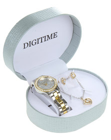 Digitime Two-Tone Diamante Heart Watch and Jewellery Set Multi
