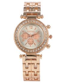 Digitime Scarlett Diamante Chrono Dial Bracelet Strap Watch Rose Gold