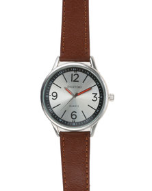 Digitime Dust Mens Leather Strap Watch Brown
