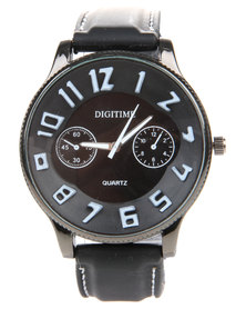 Digitime Numeric Resin Strap Watch Black
