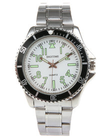 Digitime King Silver Dial Watch Silver-Tone