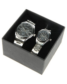 Digitime His & Hers Dial Detail Watch Set Silver-Tone