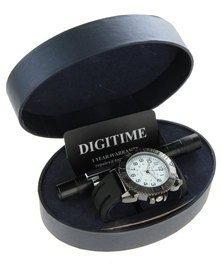 Digitime Watch and Pen Set Black