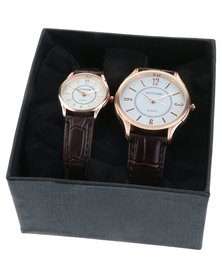 Digitime His & Hers Classic Watch Set Brown