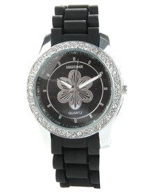Digitime Diamante Round Face Floral Watch Black