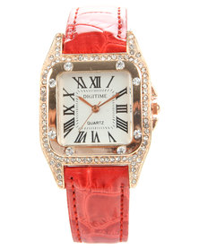 Digitime Diamante Square Dial Croc Strap Watch Red