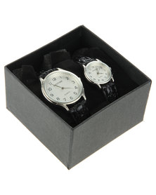 Digitime His & Hers Silver-Tone Dial Watch Set