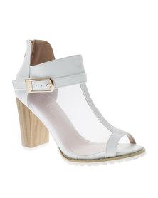 Diva Mesh Block Heel Shoe White