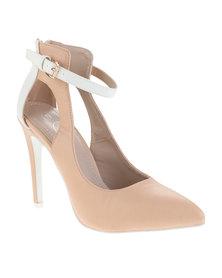 Diva Two Toned Court Shoe Nude/Cream