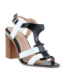 Diva Two Toned Block Heel Shoes Black/White