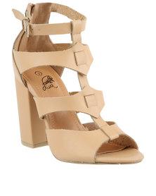 Diva Weaved Block Heel Shoes Nude