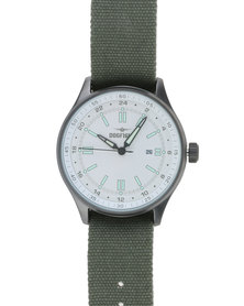 DogFight Mens Ace Classic Vintage With Fabric Strap Watch Green