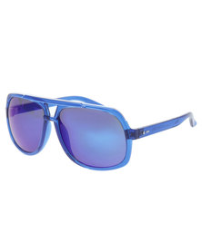 Dot Dash  Translucent Frame Blue Chrome Lens Sunglasses