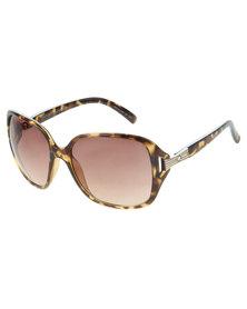 Dot Dash Oversized Tortoise Glam Sunglasses Brown
